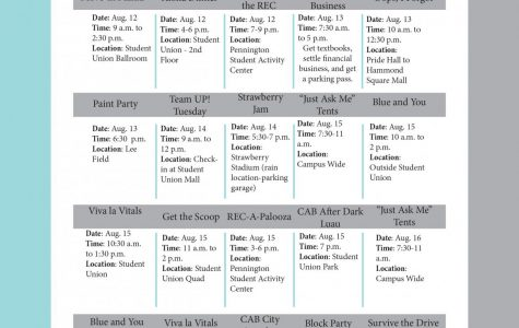 Welcome Week calendar