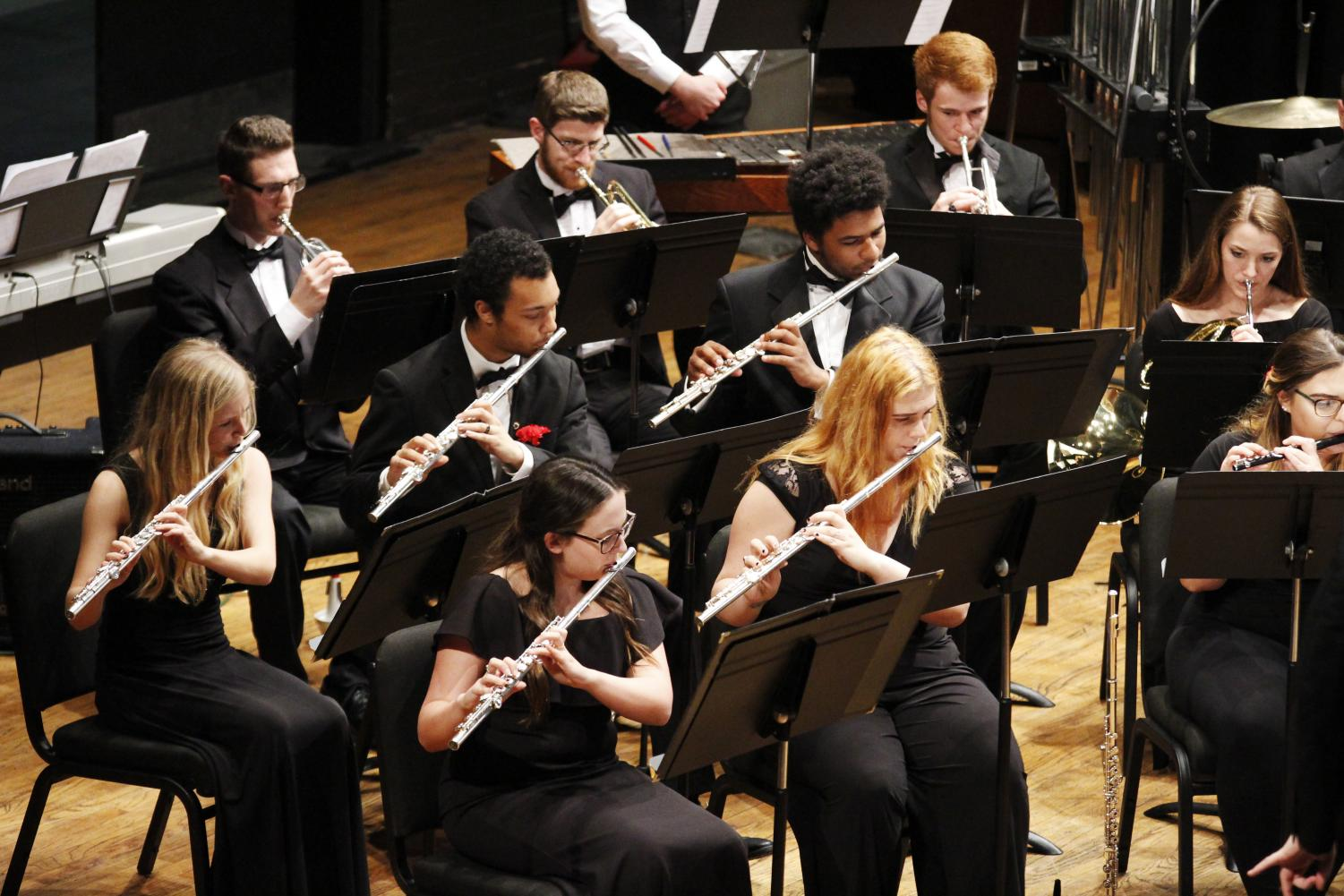 Students can express themselves musically through a number of organizations such as the university Wind Symphony.