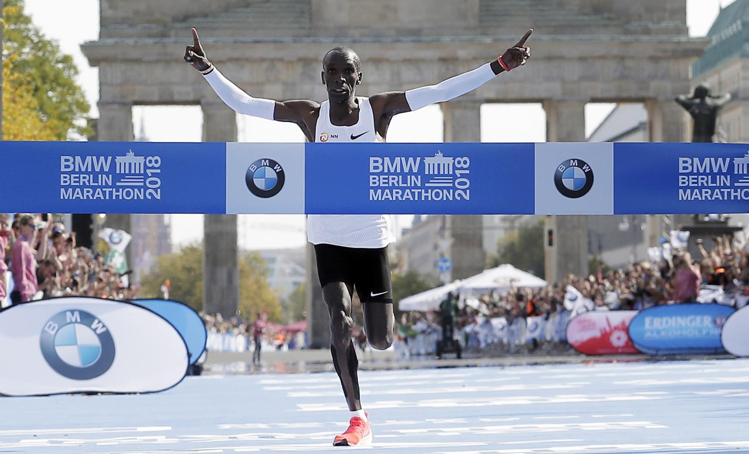 Eliud Kipchoge runs to win the 45th Berlin Marathon in Berlin, Germany, Sunday, Sept. 16, 2018. Eliud Kipchoge set a new world record of 2 hours 1 minute 39 seconds.