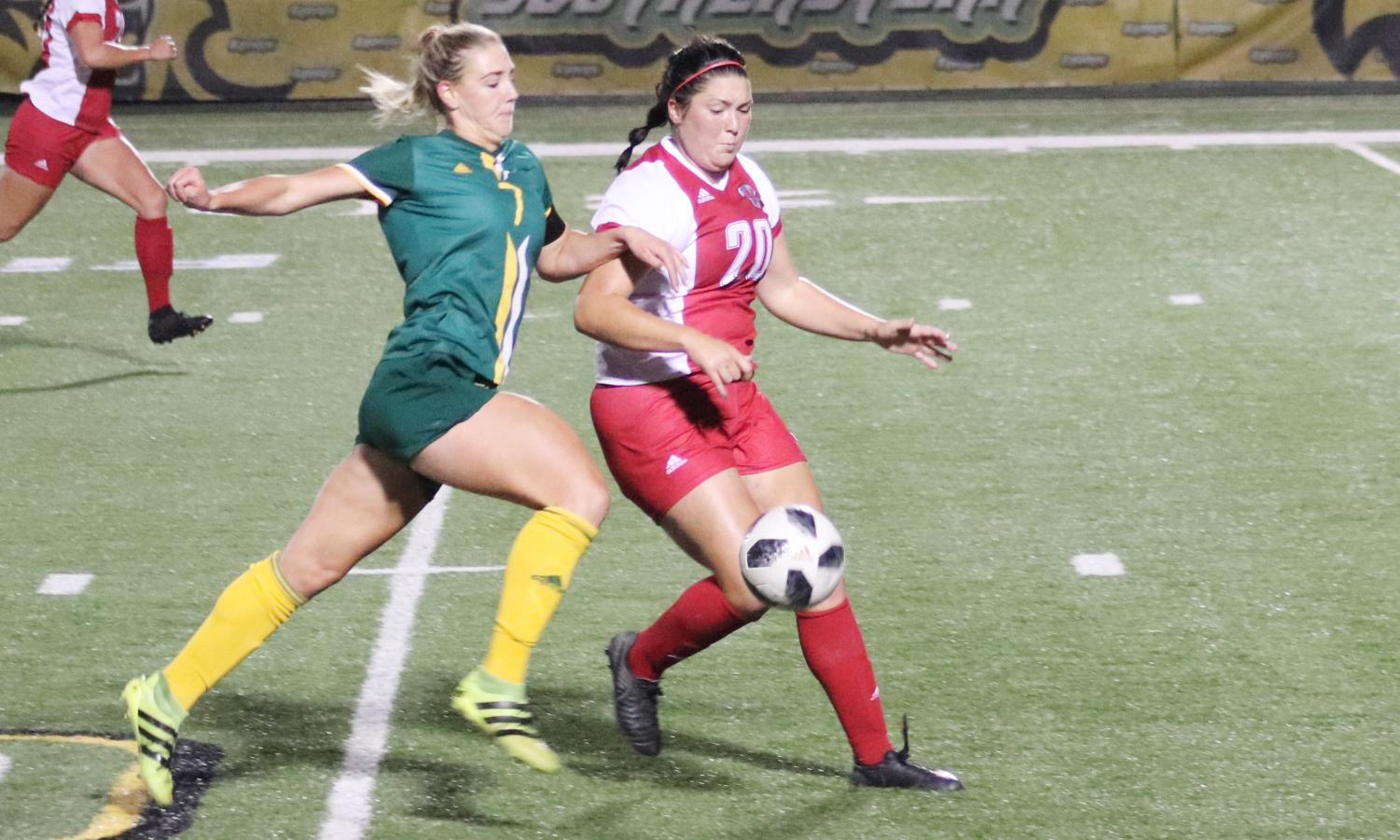 "Christina Cutura, a senior forward, is the highest scoring player of the season with a total of seven goals. Cutura scored three goals and her second hat trick of the season in the ""Senior Night"" game against Nicholls State University."