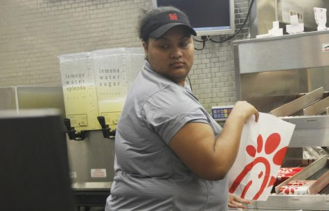 Breana Sterling, a junior nursing major, stays determined in managing her studies while also working at Chick-fil-A.