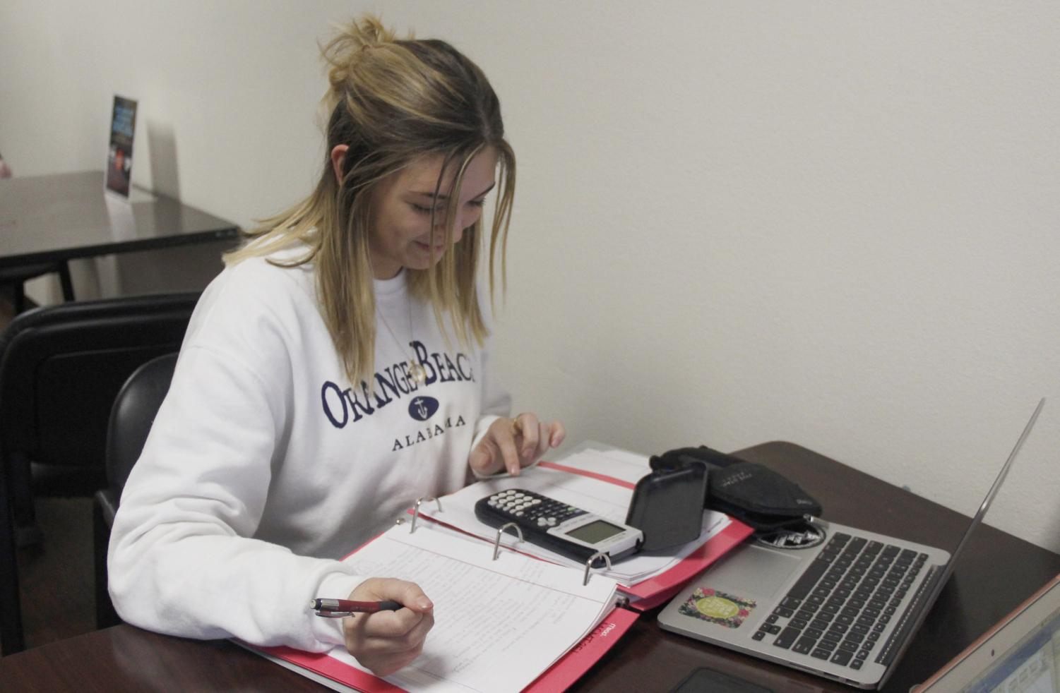 Alainna Haddad, a junior finance major, studies at the College of Business. The Department of Accounting and Finance offer opportunities for students to prepare for in-demand careers in diverse areas.
