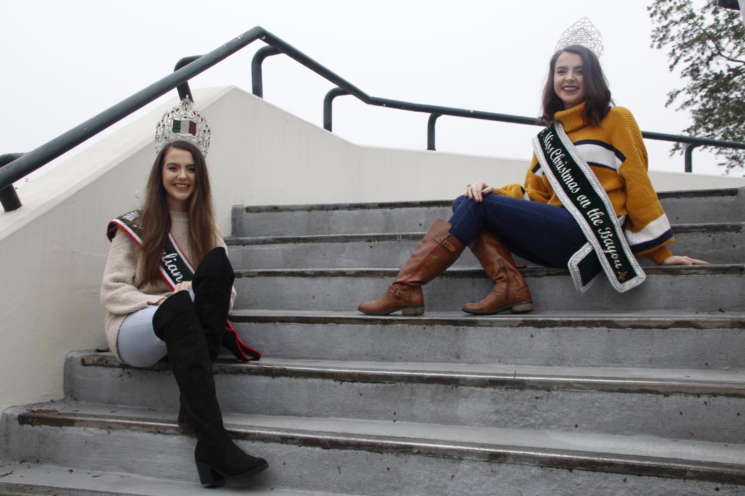 Sisters Mason and Madison Burnette, left to right, represent their community by participating in pageants. They hold the Miss Italian Festival and Miss Christmas on the Bayou titles, respectively.