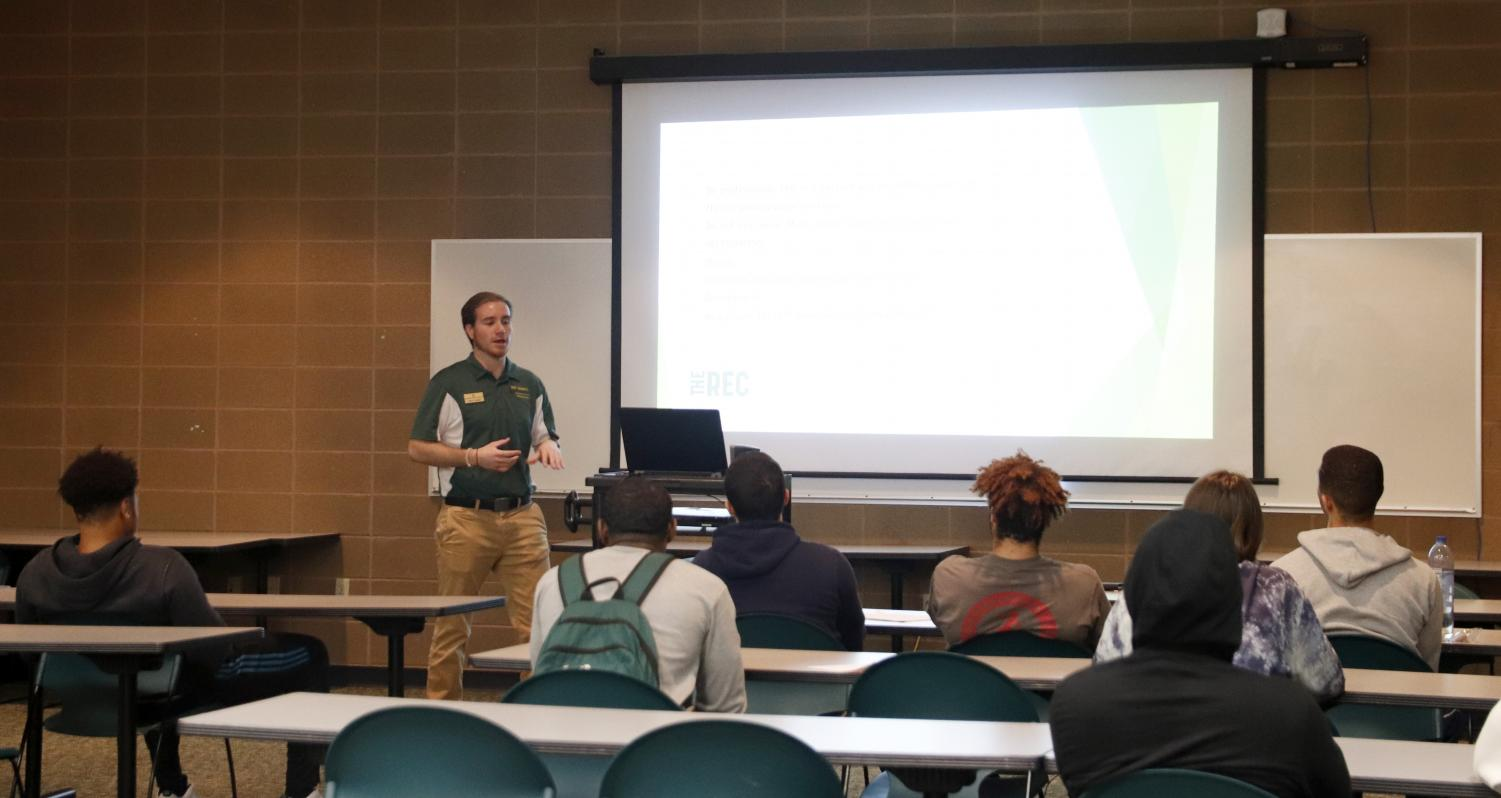 The rec center hosted its interest meeting for referee training on Jan. 31. Jason Templet, coordinator of competitive sports, presented information to the students at their first meeting.