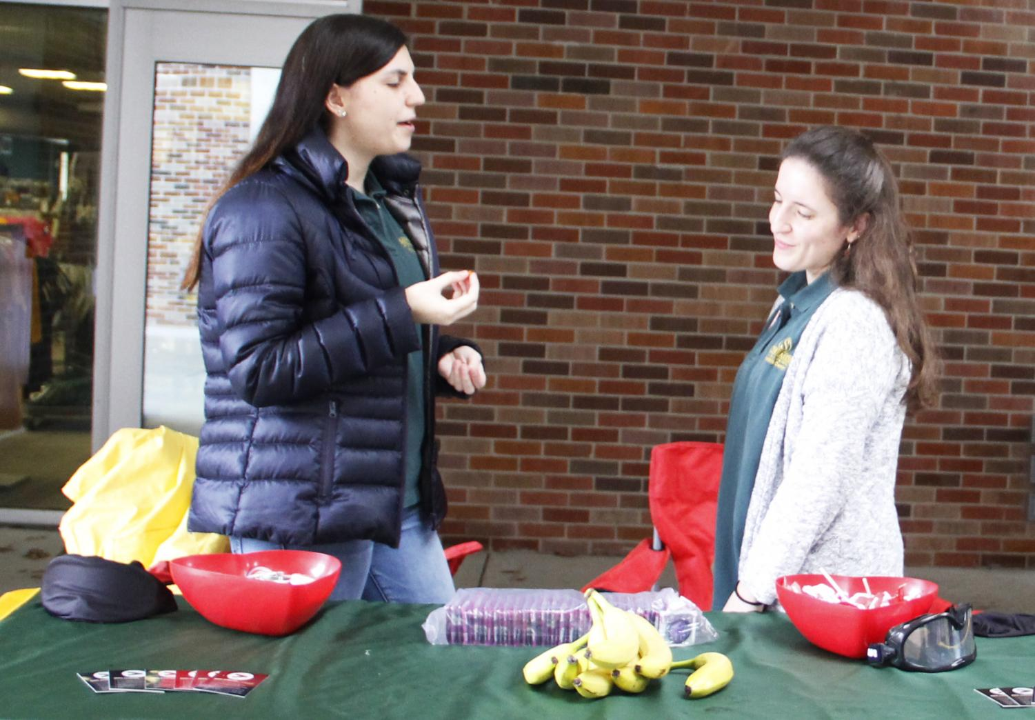 In recognition of National Condom Day, the University Health Center and Student Outreach and Advocacy Representatives set up a table in the Student Union Breezeway. Students could play a game and learn more about safe sex techniques.