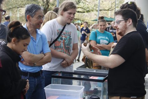 "At ""Rock-n-Roar"" 2018, the biological sciences department set up a reptile exhibit for high school students to observe."