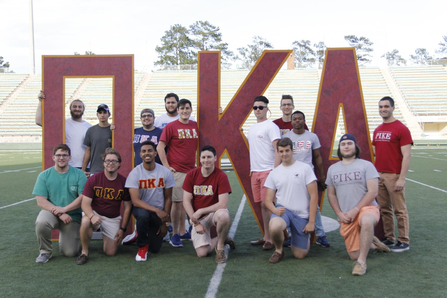 Members of Pi Kappa Alpha rebuilt a broken part of a fence in Dr. Ronald Traylor's yard. Riley Trisler brought the idea to the fraternity.