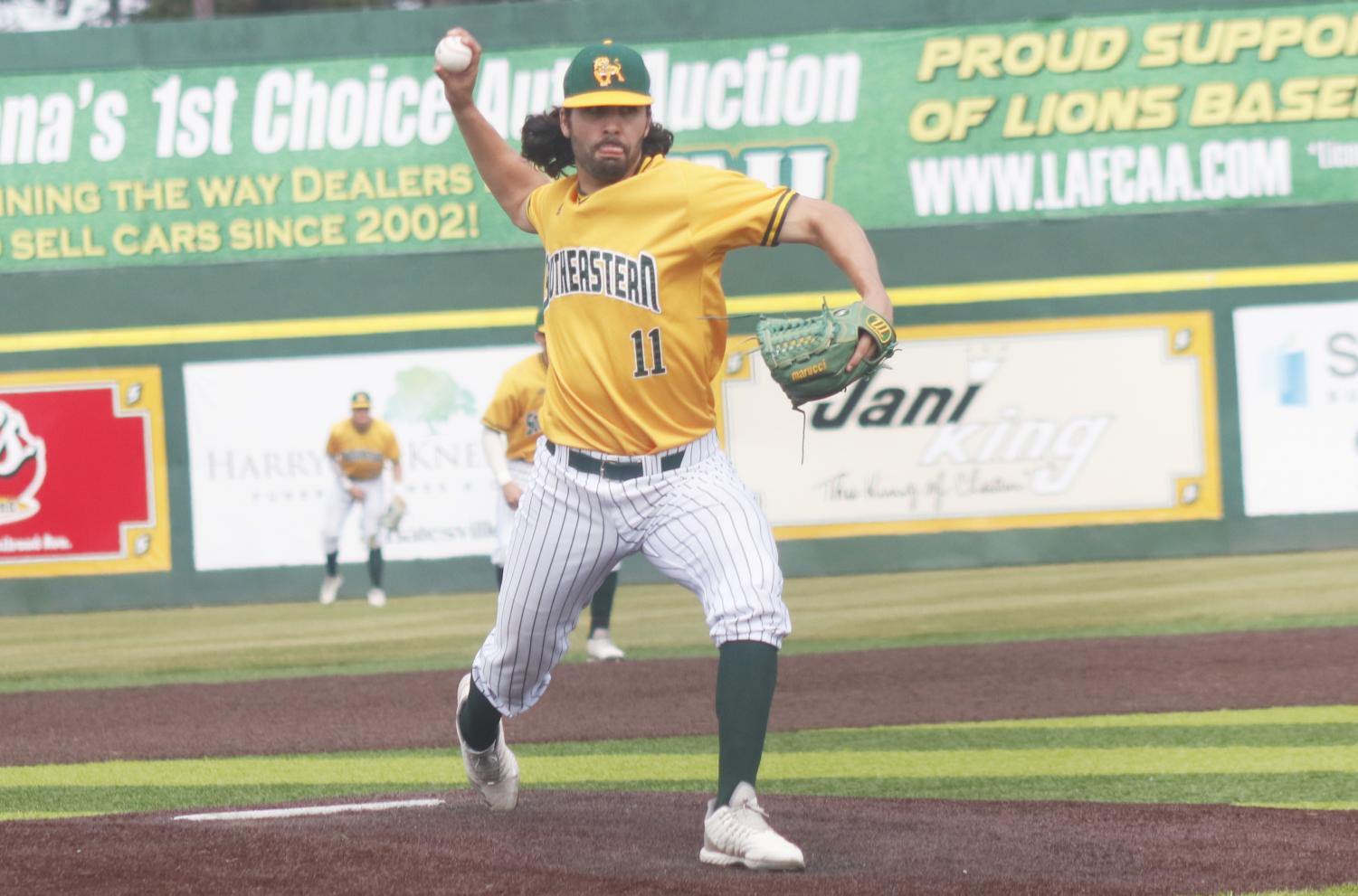 Kade Granier, a redshirt senior pitcher, winds up a pitch. The Lions baseball team secured three wins over the weekend against the Abilene Christian University Wildcats, extending the win streak to five games.