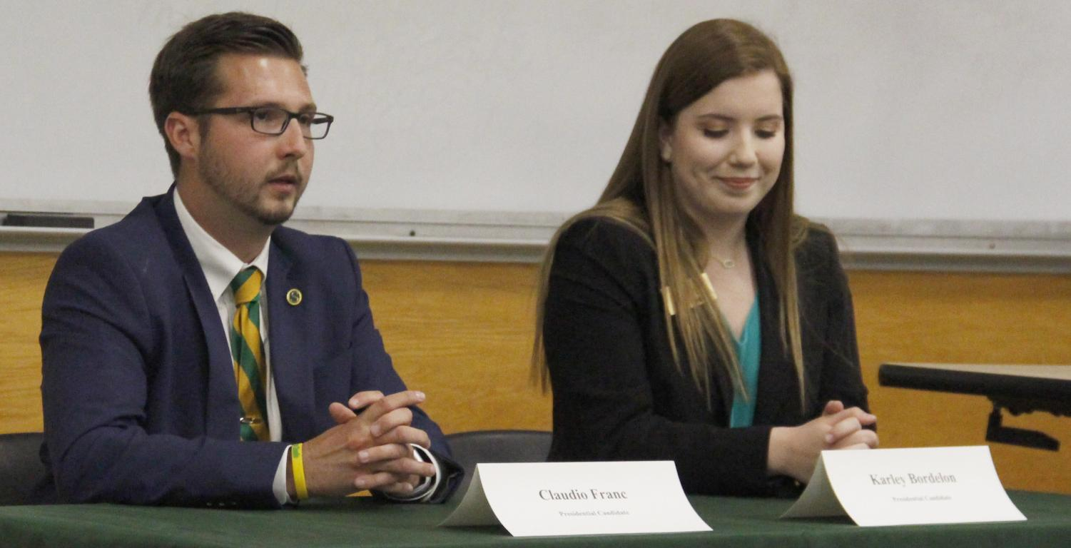 Claudio Franc and Karley Bordelon participate in the debate for students to get to know them better. Both are running for the president of the Student Government Association.