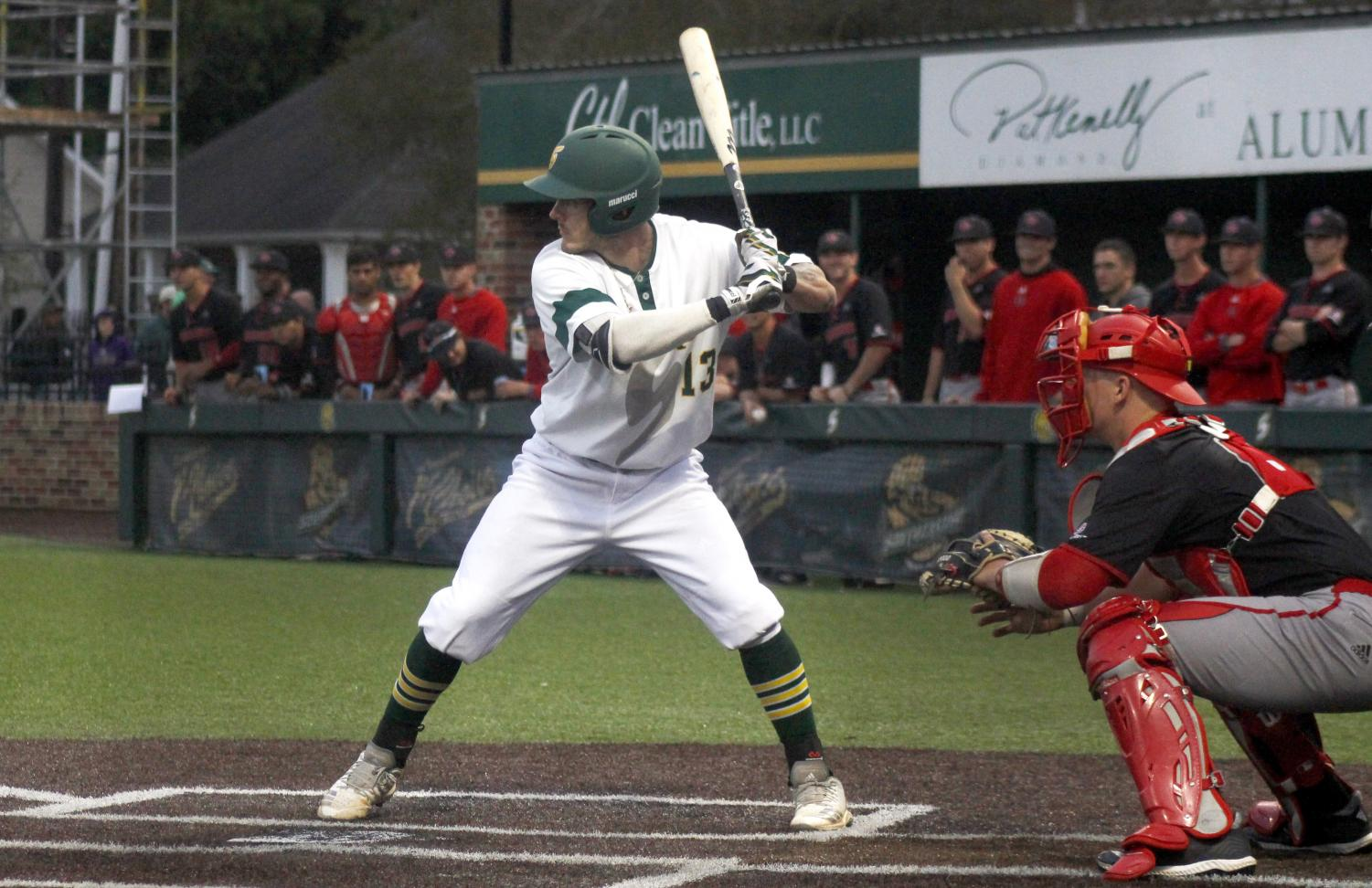 Brennan Breaud, a senior infielder, prepares to swing  in the Pat Kenally Diamond at Alumni Field. Before graduating this semester, Breaud made it into the Top 10 in all-time hits for the university.