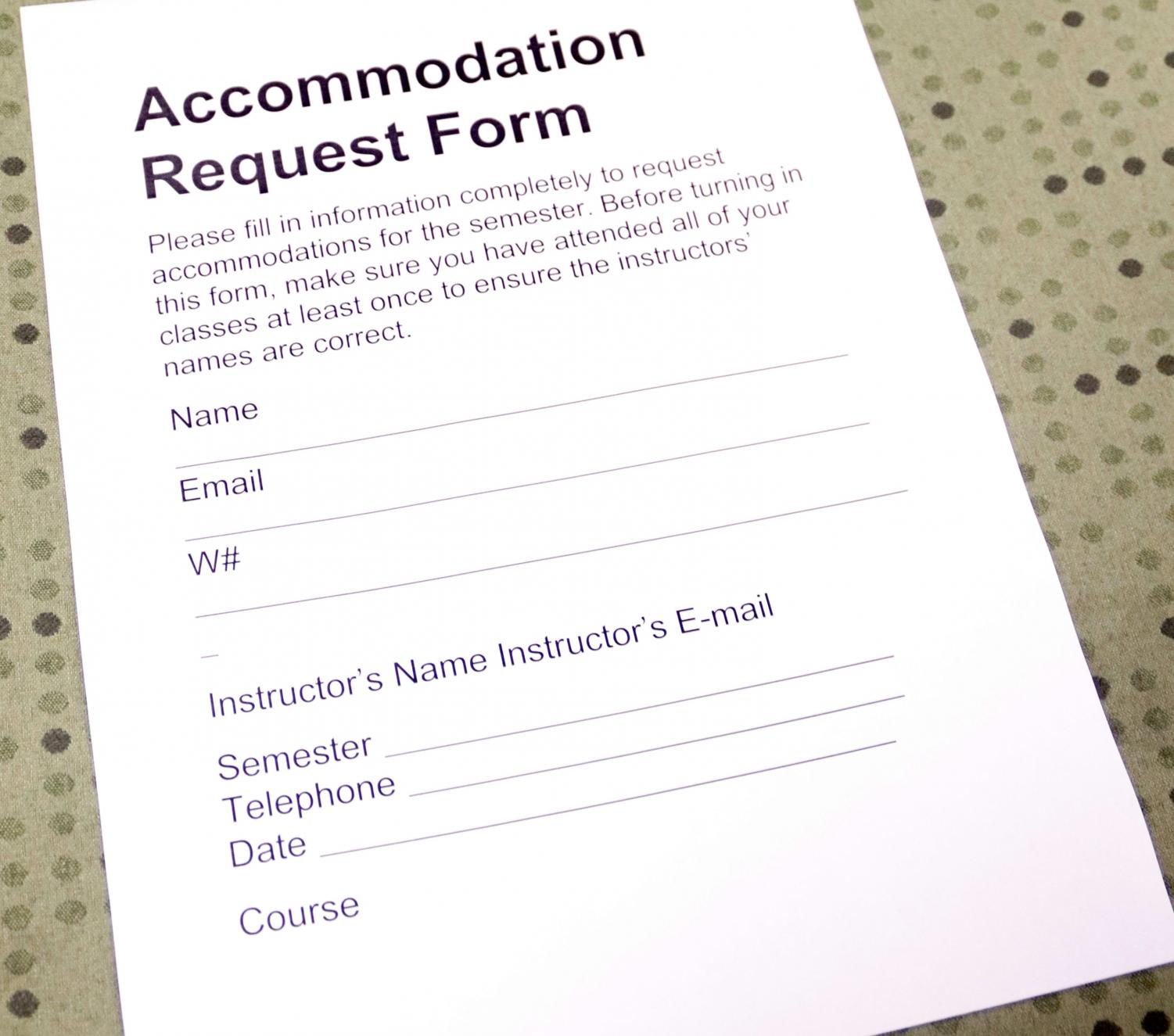 A form for students seeking accomodations to register with the Office of Disability Services. Students who want to know more about accomodations offered can visit the office in Student Union Room 1304.