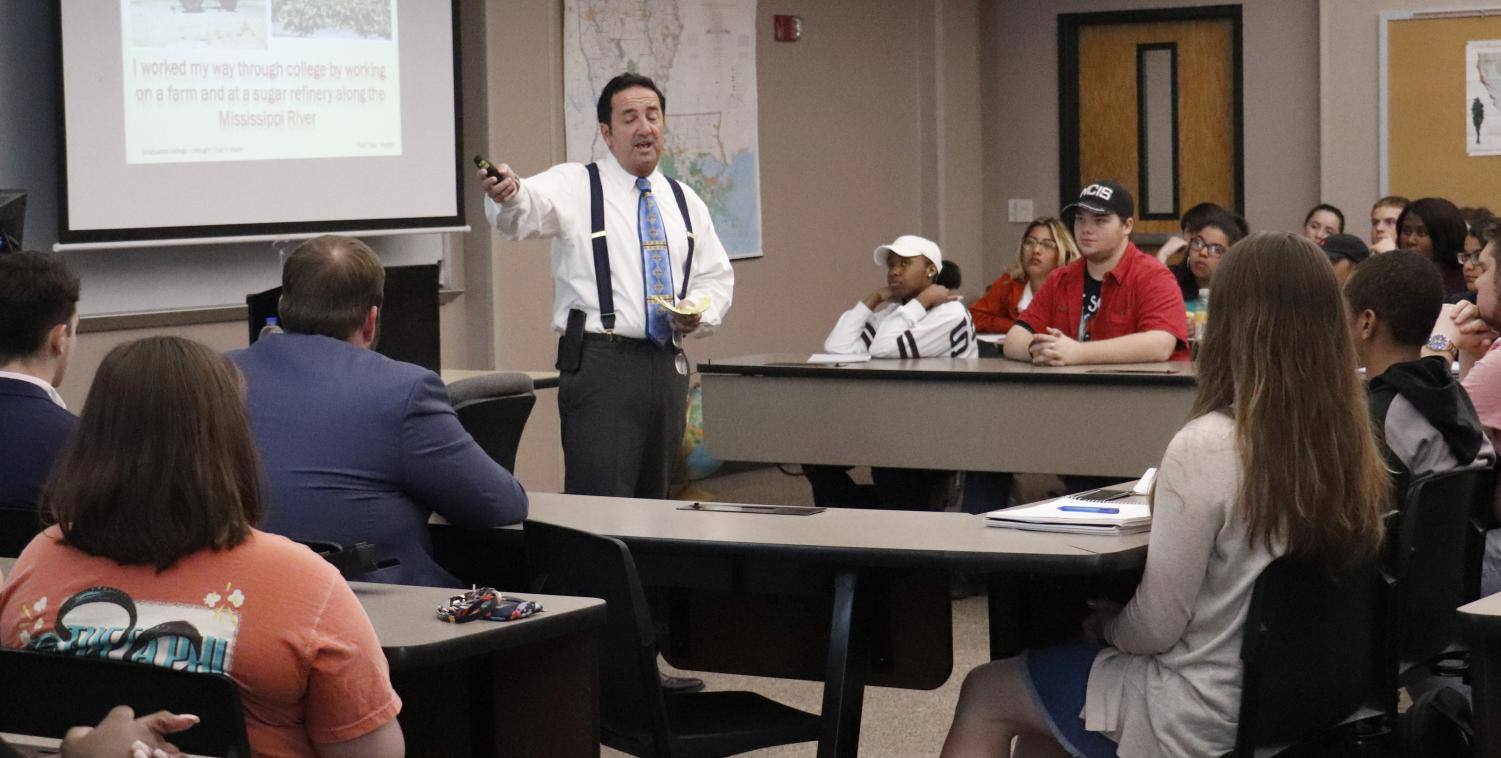 David Faucheux, instructor of management and business administration, talks to students about expanding professional skills at a seminar earlier this year. Southeastern Education majors will have the opportunity to gain practical experience similar to this in the classroom through residency programs.