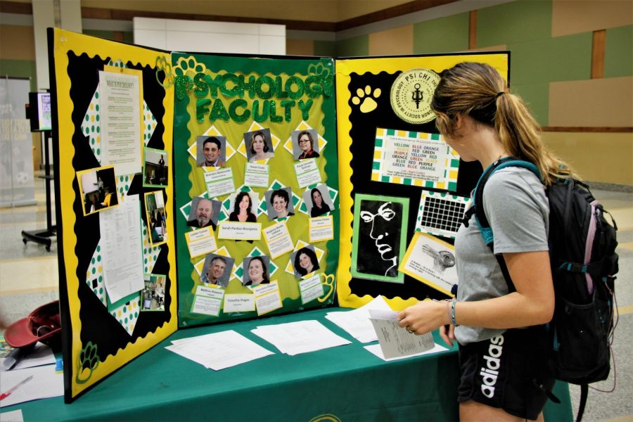 Anna+Krajcer%2C+freshman+athletic+training+major%2C+browses+the+Psychology+Department%27s+informational+booth.+Offering+over+60+undergraduate+degree+programs%2C+students+toured+the+Major+%26+Minor+Fair+to+obtain+more+information+about+the+university%27s+programs.