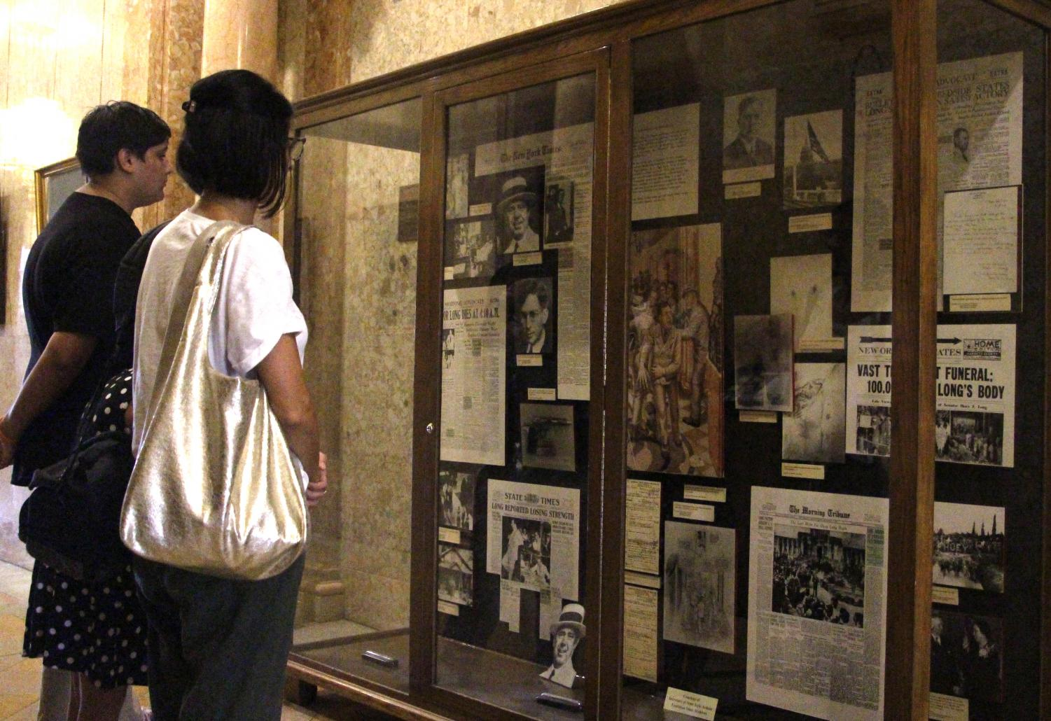 Visitors to the State Capital can view newspaper clippings documenting the assassination of former governor and US Senator Huey Long. Long was killed in the capital building on September 8, 1935 by Dr. Carl Weiss.