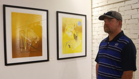 Hammond resident Scott Rohner observes Rosemary Goddell's art work on display. Godell's work is a part of Zen Aesthetics exhibition. Prakriti Adhikari/The Lion's Roar
