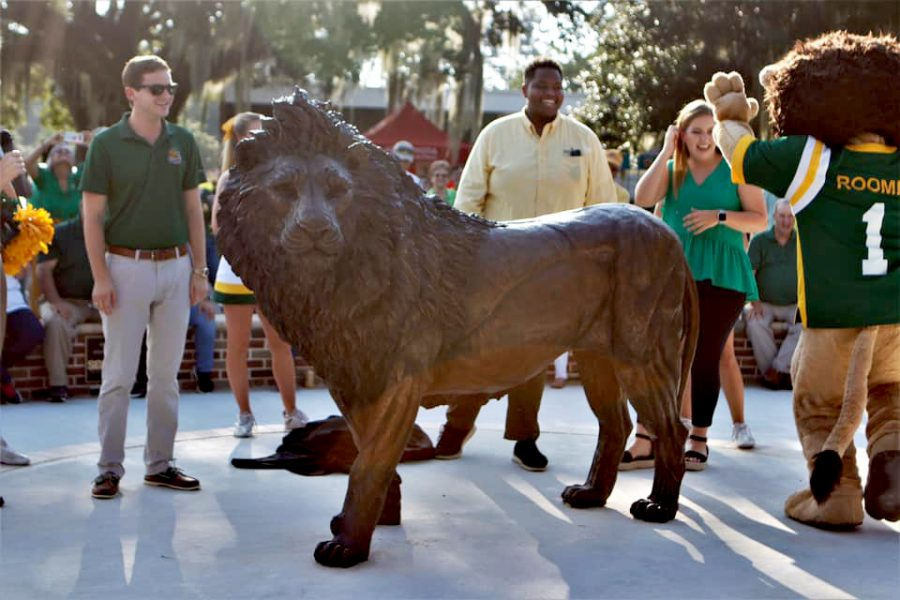 The new lion statue funded by the Student Government Association located in Friendship Circle.