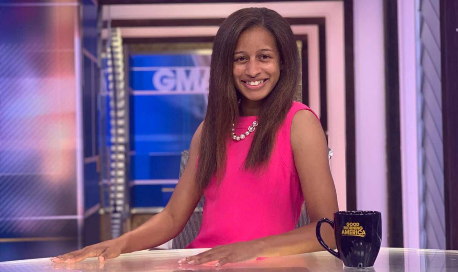 """Raychelle Riley, a junior communications major, poses for a photo in the set of """"Good Morning America."""" Riley did an internship in New York during summer."""