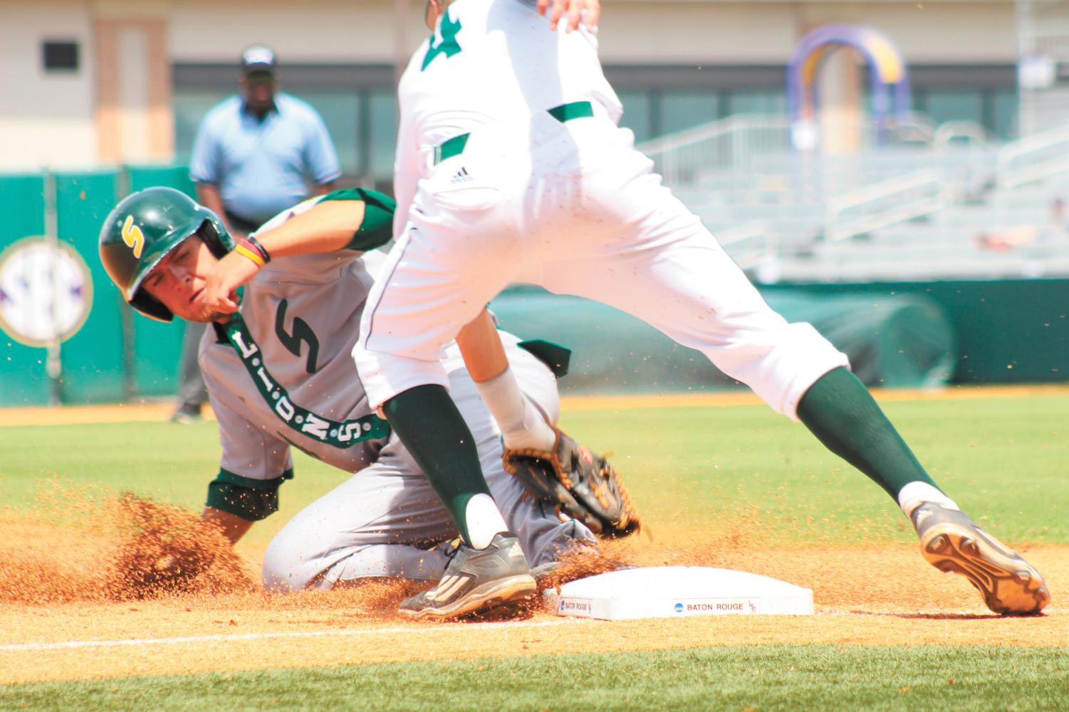Drew Avans, a 2018 alumnus, slides into third base in the 2016 3-2 win in the Baton Rouge Regional Tournament. The Lions finished 2016 with a university record of 40 wins. Avans currently plays for the Tulsa Drillers, the Double-A affiliate for Los Angeles.
