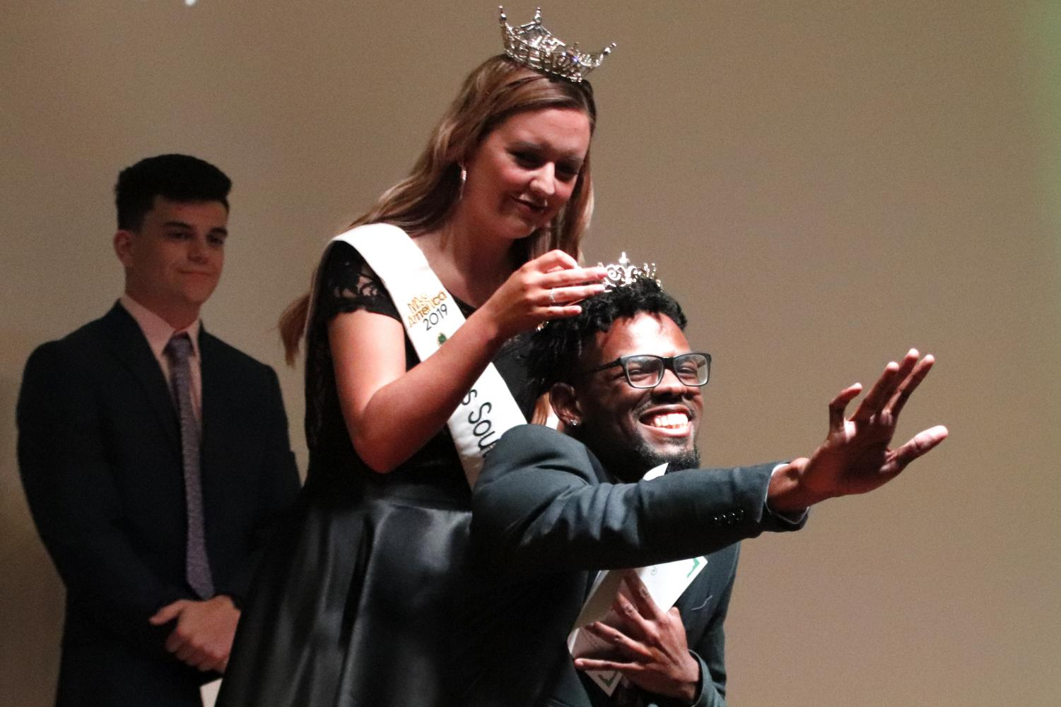 Miss Southeastern Louisiana Univeristy 2019 Chelsey Blank hugs Brian Williams, a senior communication major, after Williams was announced Mr. Southeastern Louisiana Univeristy 2019. Blank organized the competition to raide funds for her platform: Down Syndrome Awareness.
