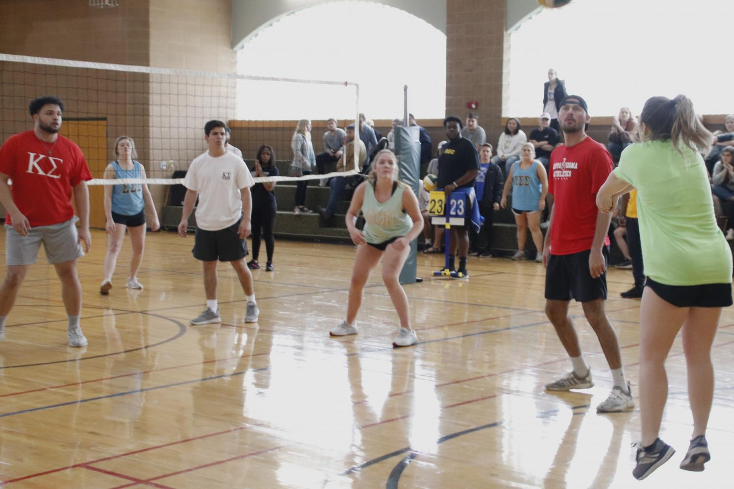 Volleyball was the first Greek Week sport to take place last semester. Greek organizations partenered up in teams and competed through various activities.