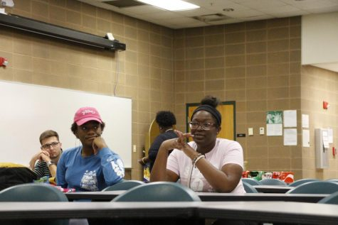 Students discuss racial issues on campus. The 'Race Blame Game' was held Oct. 22 and was sponsored by MISA.