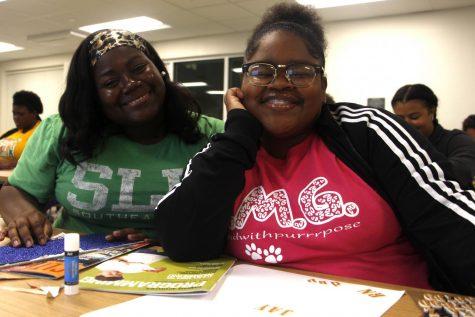 Deonna London and J'Asia Bovia, freshmen nursing majors, made their own vision boards at the Pre-Nursing Society's