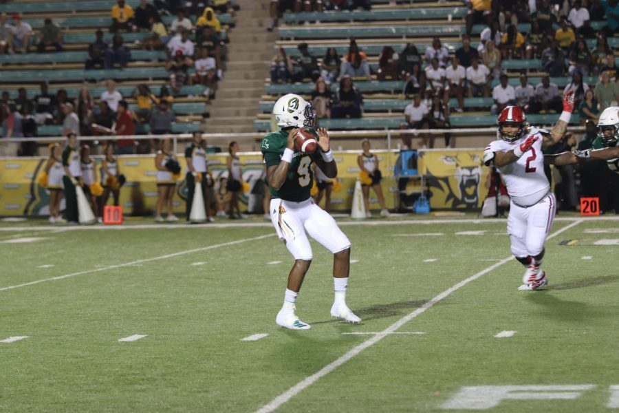 Senior quarterback Chason Virgil drops back to throw a pass against Jacksonville State University. The Lions defeated Jacksonville State 35-14 on Aug. 29, 2019.