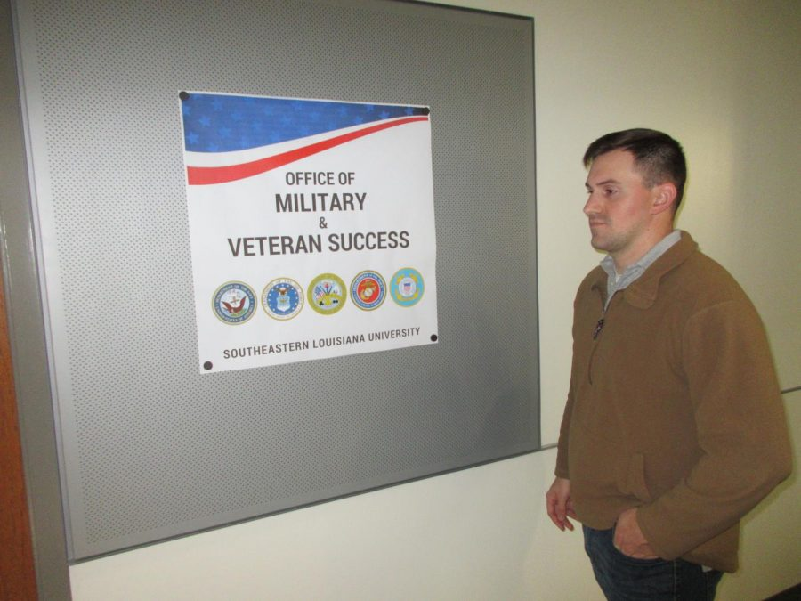 Jordan Hotard, a junior supply chain management major, walks into the Office of Military and Veteran Success. The office has recently moved from north campus. The office's new location is room 2304 in the Student Union.