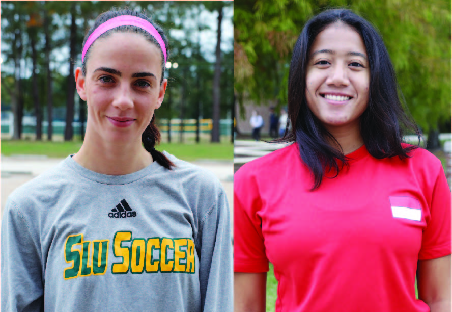 Tilly Hallas-Potts, a junior soccer player from the United Kingdom and Putri Insani, a sophomore tennis player from Indonesia.  Maggie Tregre/The Lion's Roar