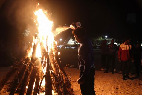 Anthony Page,  a member of Phi Beta Sigma,  fuels the fire at the BLUout Bonfire Nov.18.