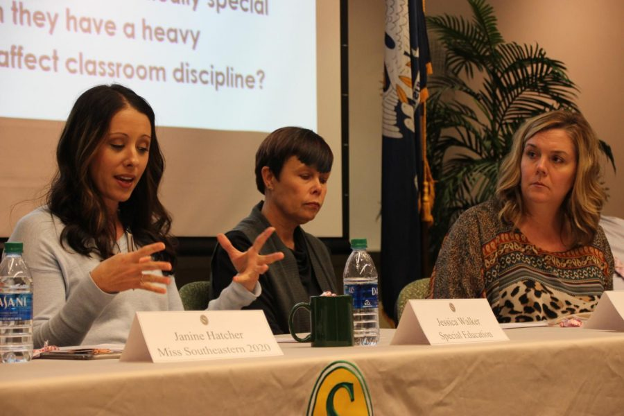 Jessica+Walker+speaks+to+the+audience+during+the+forum.+The+panel+discussed+matters+concerning+the+interests+of+students%2C+faculty+and+teachers+in+special+education.
