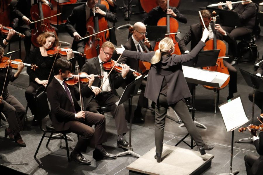 "Gemma New, conductor of the performance, conducts the Louisiana Philharmonic Orchestra during Johannes Brahms' ""Symphony No. 2."" This was the third and final piece played during ""Romantic German Masters."""