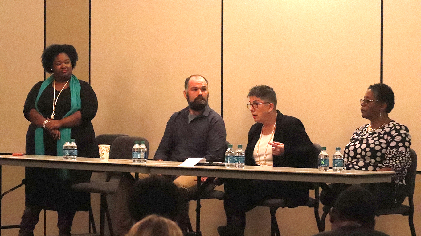 """Rebecca Hensley, instructor of sociology, speaks to the crowd during the forum after the performance """"Walk On: The Story of Rosa Parks."""" The panel also included Dr. Antoinette Harrell - a genealogist, author, historian and producer - and Christopher Westhoff, manager at Mad River Theater Works."""