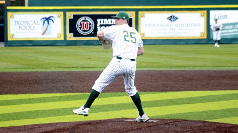 Sophomore pitcher Grant Upton throws a pitch in the Feb. 8 Alumni game. The Lion's next game will be at home on Feb. 18 against the University of Louisiana at Lafayette.