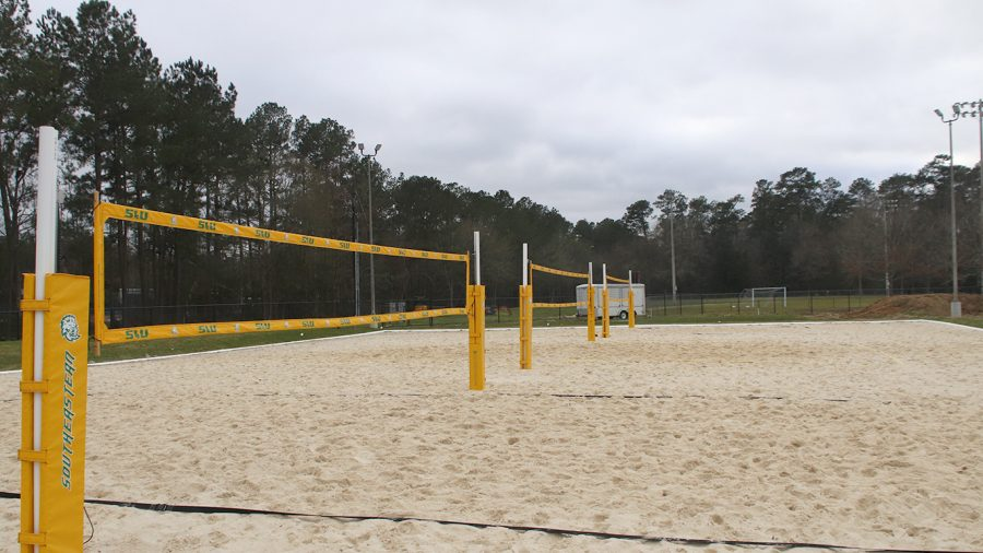 The+new+beach+volleyball+complex+features+three+courts%2C+along+with+a+berm+for+spectators+to+watch+from.+The+complex+will+also+host+the+Lion+Up+Beach+Bash+on+March+20.+