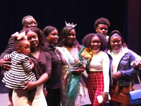 Janine Hatcher, Miss Southeastern 2020, is halfway through the first semester of her reign. Pictured is Hatcher with her family backstage after being crowned at the pageant on Nov. 22.