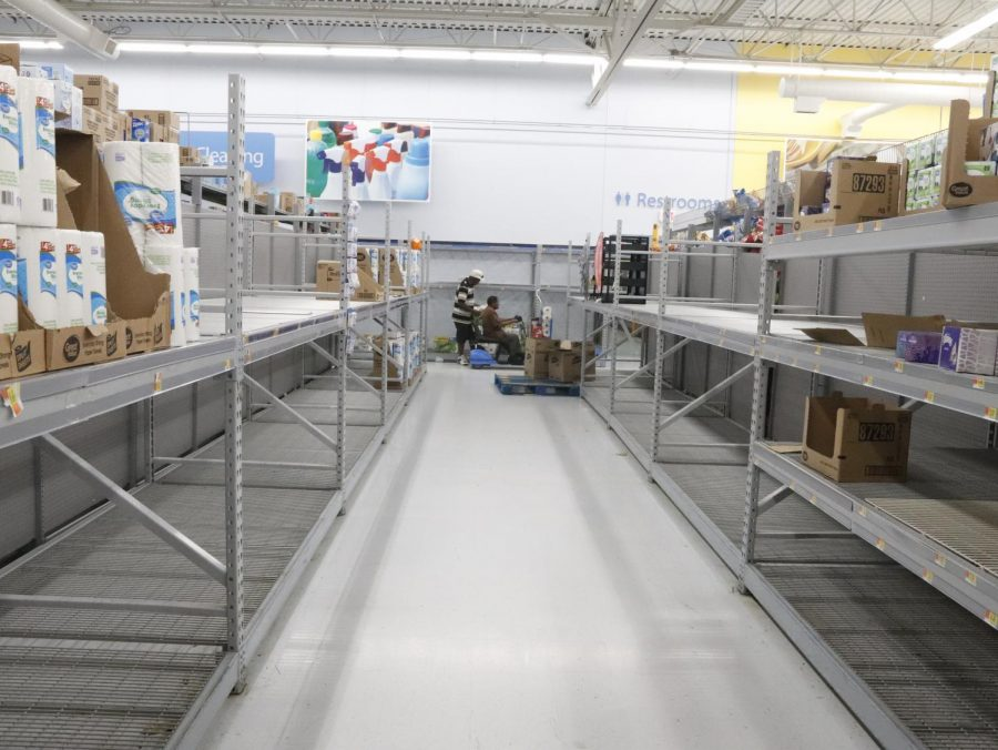 The+picture+shows+empty+shelves+at+Walmart+store+on+2799+W+Thomas+St%2C+Hammond.+Shoppers+have+been+buying+extra+supplies+since+the+outbreak+of+coronavirus.
