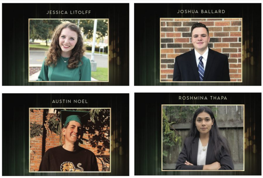 Jessica Litolff, outstanding woman of the year. Joshua Ballard, outstanding man of the year. Austin Noel, recipient of the Heart of a Lion award. Roshmina Thapa, David Wares Outstanding International Student of the Year.