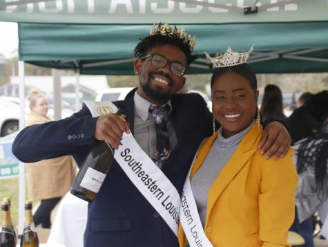 Mr. Southeastern 2020 Brian Williams and Miss Southeastern 2020 Janine Hatcher pose for a picture during the Lion4Life launch patry.