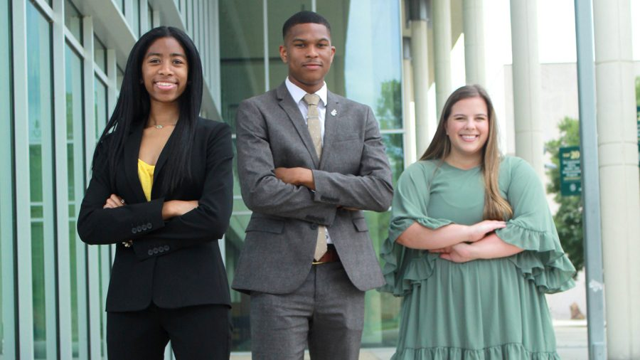 The 2020-2021 Student Government Association officers, from left to right: SGA President L'Oreal Williams, SGA Vice President Darnell Butler and SGA Chief Justice Madison Sunde.