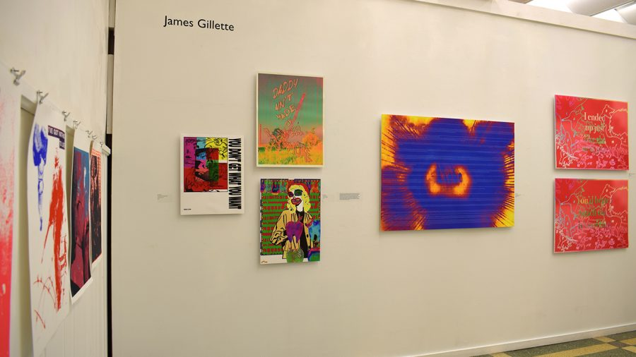 University alumnus James Gillette displayed his art in the 2020 Senior Exhibition, along with the works of Timothy Johnson and Belinda Flores-Shinshilla. Nine graduates currently have their work on display in the gallery through Sept. 29.