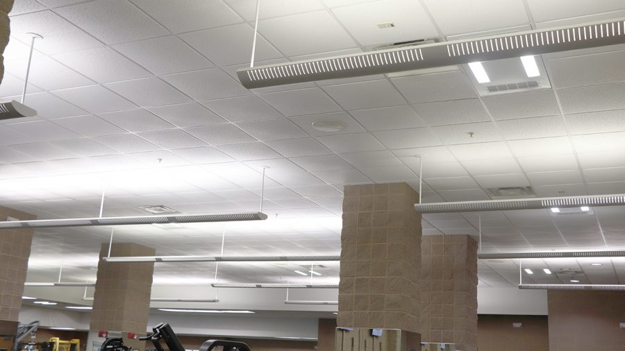 The troffer systems take the form of a drop-in light fixture. These have been installed in the exercise room in the REC. This area is considered higher risk for COVID-19 due to traffic flow and constant heavy breathing in the area.