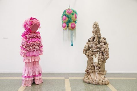 Christine Cook designs costumes for various performing arts, including the costumes pictured above. Her works are currently available for viewing in the Contemporary Art Gallery, along with several other faculty artworks.