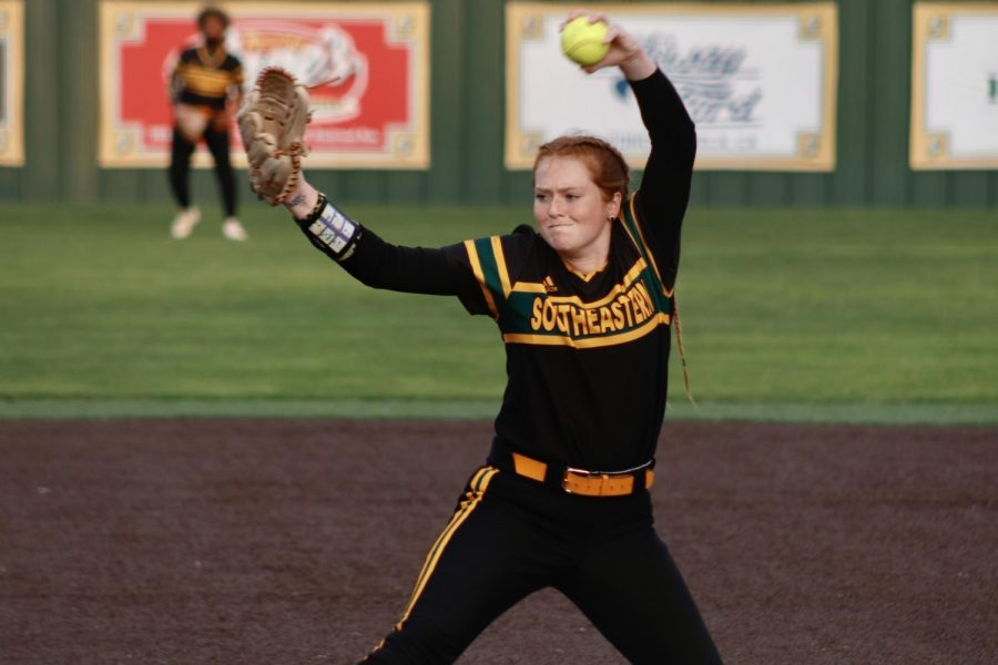 Sophomore+pitcher+Sophie+Hannabas+pitched+three+strikeouts+during+the+Lady+Lions%27+matchup+against+LSU+on+March+16+at+North+Oak+Park.+