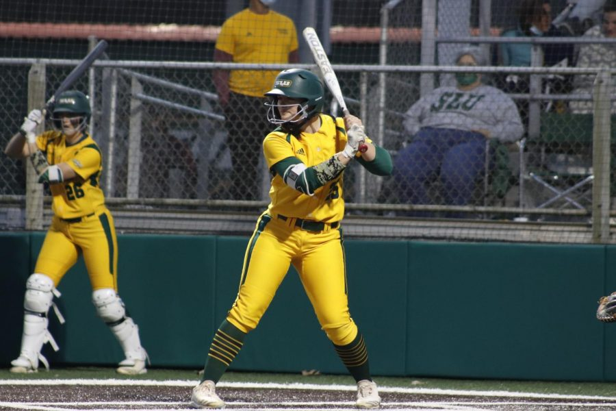 Senior catcher/outfielder Madisen Blackford steps up to the plate against Southern Mississippi University on March 10. The Lady Lions currently sit at 9-10 on the 2021 season.