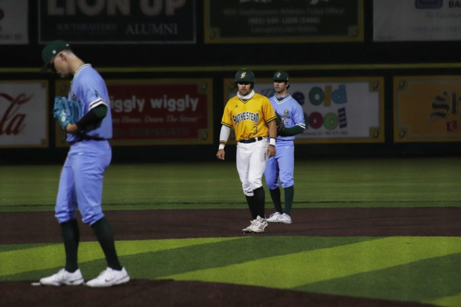 Eli Johnson, senior third baseman, leads off second base in the Lions victory over Tulane University on March 3. The Lions will face LSU with a 11-4 record, the best start the Lions have had in over seven seasons. Southeastern will take on LSU on March 16 at Alex Box Stadium at Skip Bertman Field.