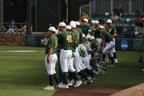 The Lions baseball team is standing in the dugout as they take on Southland Conference opponent Abilene Christian University.