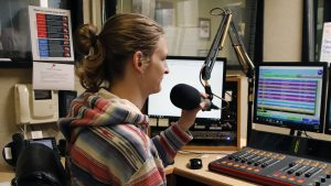 Troy Granger, a sophomore communication major, is a student worker at the KSLU radio station. With renovations scheduled for D Vickers Hall, questions have arisen regarding the future of KSLU's radio operations.