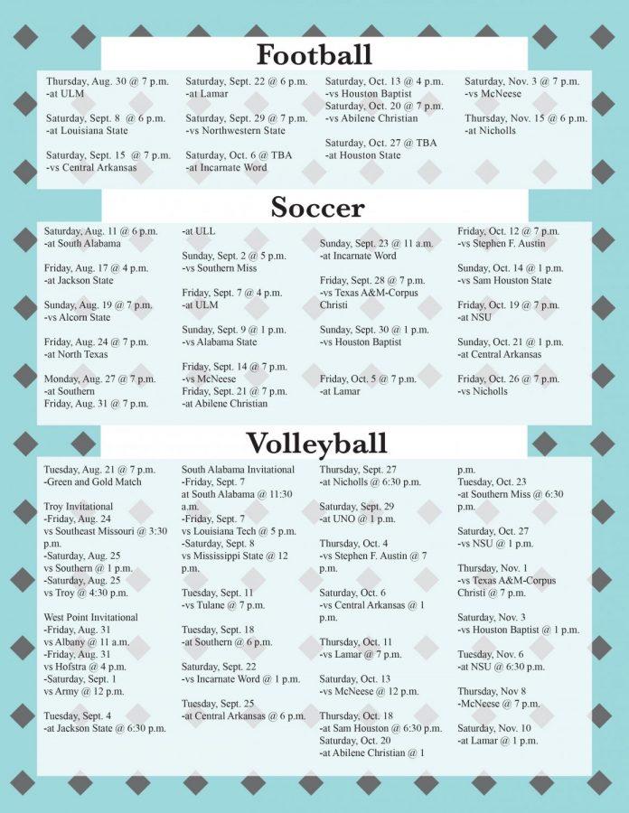 Fall 2018 sports calendar