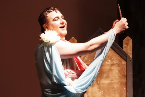 "Jeremy Guillot, a junior music major, performs as Narcissus in Alpha Psi Omega's play ""You Go, Goddess!"" Both organizations allow students to work on their craft."